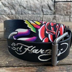 Authentic Ed Hardy belt Christian Audigier, Floral